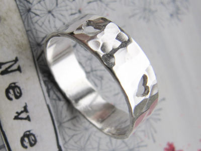 Hammered Pierced Heart Ring